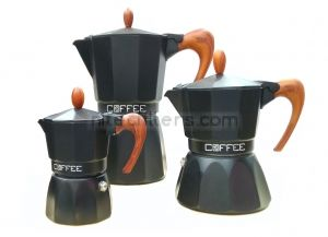 Aluminium coffee maker FASHION WOOD BLACK for 3 cups, code K931